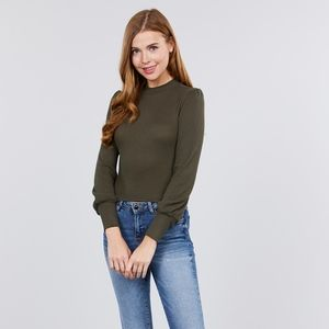 NEW! Olive Green Long Sleeve Mock Neck Top